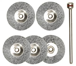Radbürsten, Stahl, 22 mm, 5 Stück + 1 Träger