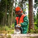 Forst Schnittschutz-Jacke grün/orange Gr. M