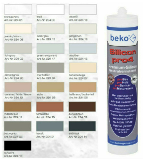 Beko Silikon pro4 Premium, 310 ml, sanitätsgrau