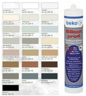 Beko Silikon pro4 Premium, 310 ml, grauweiß